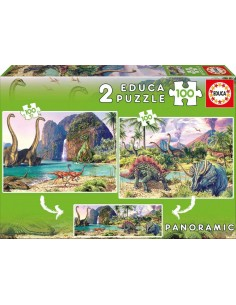 Puzzle 2x100 pzas. dino world